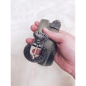 Cache | Vintage Silver Studded Leather Belt